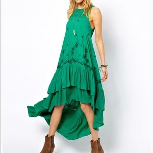FREE PEOPLE EMERALD EMBROIDERED HIGH LOW DRESS